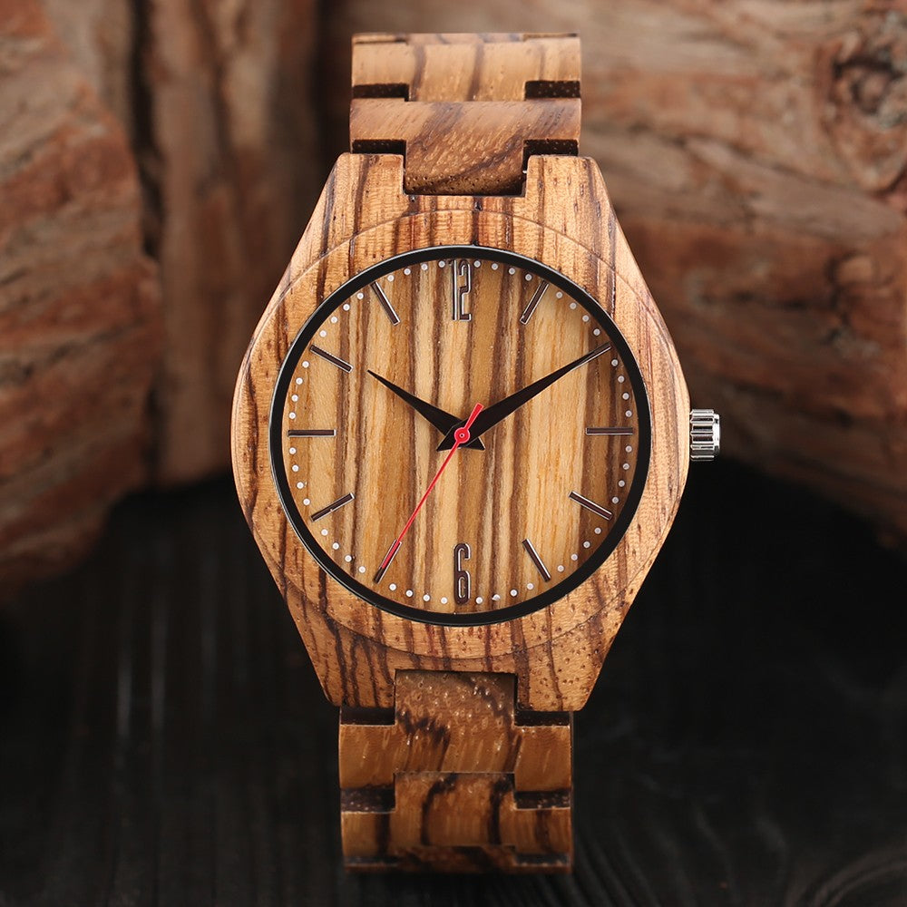 Wooden Watch Luxury Full Wooden Watches Men Sports Bracelet Analog Watch, Bamboo Wristwatch-Brown