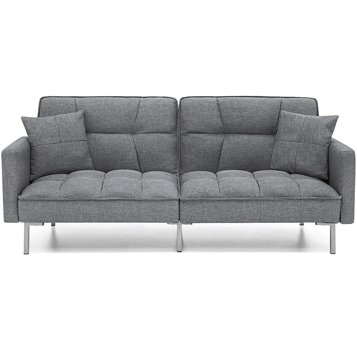 Modern Grey Linen Split-Back Futon Sofa Bed Couch – Home or ...