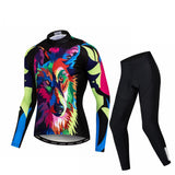 Colorful Wolf Long Sleeve Cycling Jersey Set