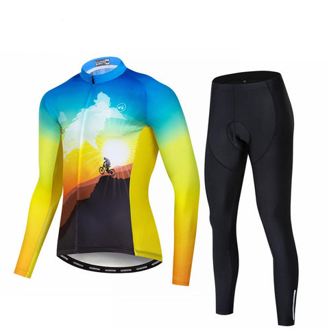 Sunset Yellow Long Sleeve Cycling Jersey Set