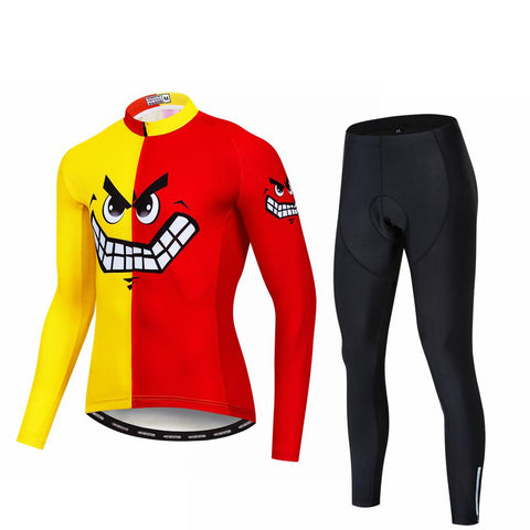 Red Skull Long Sleeve Cycling Jersey Set