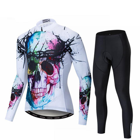 Colorful Skull Long Sleeve Cycling Jersey Set