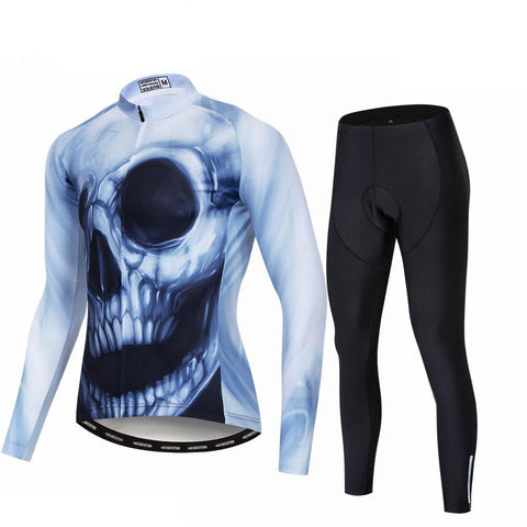 Smiling Skull Long Sleeve Cycling Jersey Set