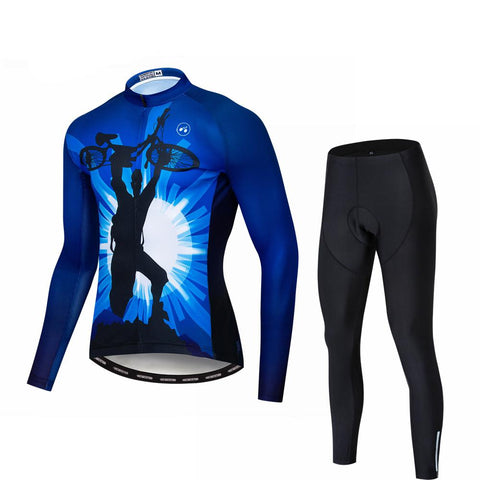 Blue Rider Long Sleeve Cycling Jersey Set