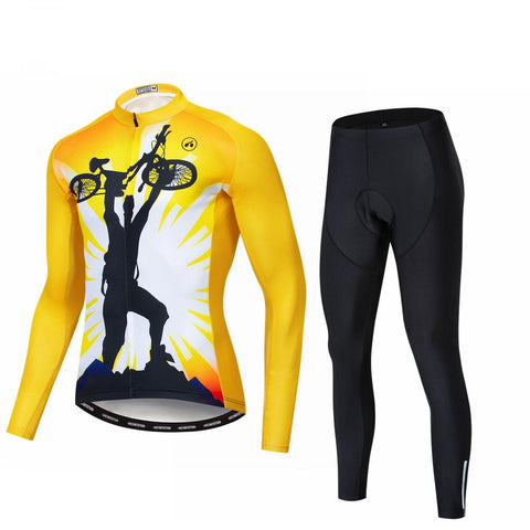 Yellow Rider Long Sleeve Cycling Jersey Set