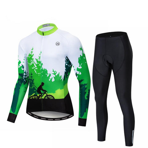 Forest Riding Long Sleeve Cycling Jersey Set