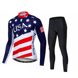 USA Long Sleeve Cycling Jersey Set