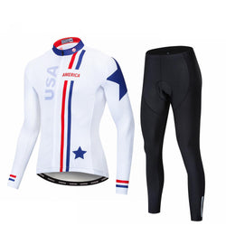 USA White Long Sleeve Cycling Jersey Set