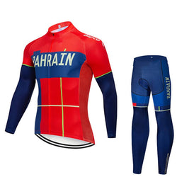 2019 BAHRAIN Men's Team Cycling Long Sleeve Jersey Set