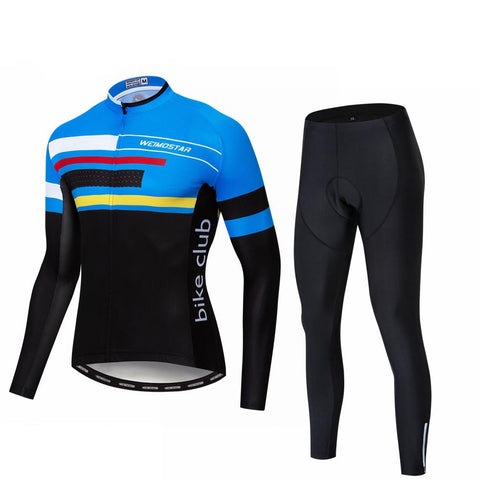 Argus Blue Long Sleeve Cycling Jersey Set