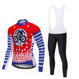 Red Cycling Stars Long Sleeve Cycling Jersey Set