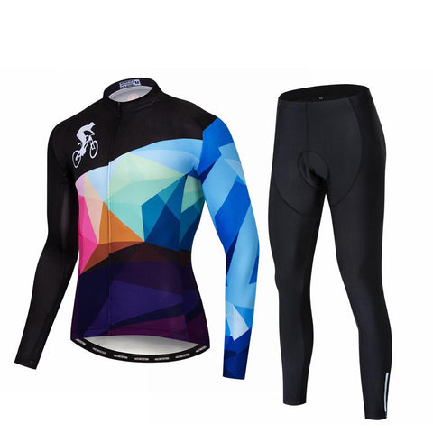 Colorful Men's Long Sleeve Cycling Jersey Set