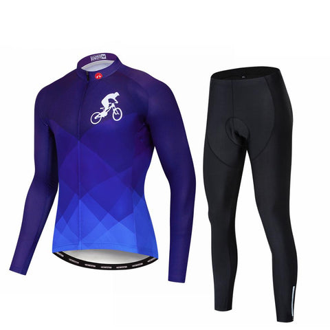 Blue Cycling Long Sleeve Cycling Jersey Set
