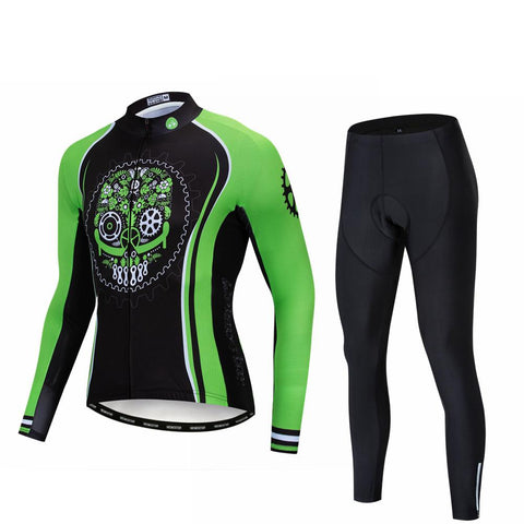 Green Cycling Long Sleeve Cycling Jersey Set