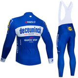 2020 Quick Step Blue Men's Team Cycling Long Sleeve Jersey Set