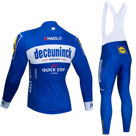 Moisture wicking Sportswear Size : 2X-large AJL Road racing bicycle long sleeve cycling jersey blue Deceuninck QuickStep Team bike outdoor sport clothing suit