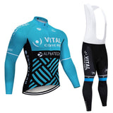 2020 VITAL Blue Men's Team Cycling Long Sleeve Jersey Set