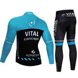 2021 VITAL Blue Men's Team Cycling Long Sleeve Jersey Set