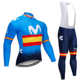 2020 MOV Stripes Men's Team Cycling Long Sleeve Jersey Set