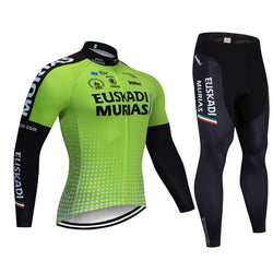 2019 EUSKADI Green Men's Team Cycling Long Sleeve Jersey Set