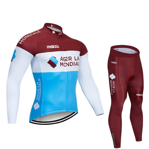 2020 AG2R Men's Team Cycling Long Sleeve Jersey Set