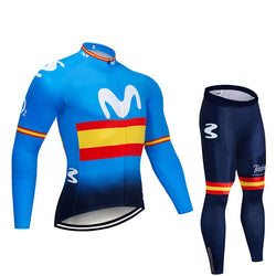2019 MOV Stripes Men's Team Cycling Long Sleeve Jersey Set