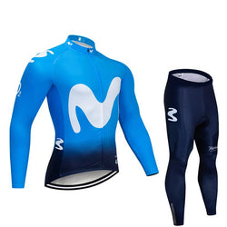 2019 MOV Blue Men's Team Cycling Long Sleeve Jersey Set
