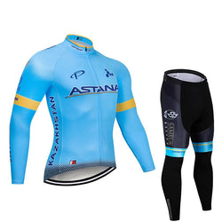 2019 ASTANA Blue Men's Team Cycling Long Sleeve Jersey Set