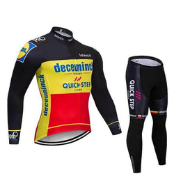 2019 Quick Step Men's Team Cycling Long Sleeve Jersey Set