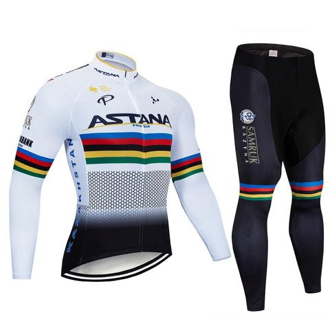 2021 ASTANA Men's Team Cycling Long Sleeve Jersey Set