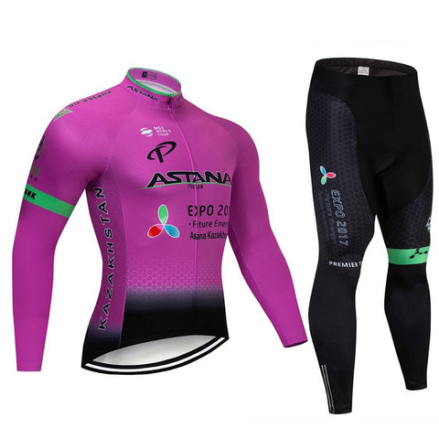 2021 ASTANA Purple Men's Team Cycling Long Sleeve Jersey Set