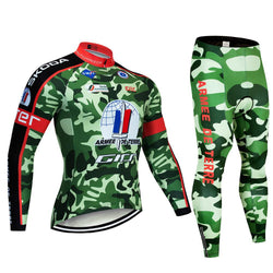 2019 Camouflage Green Men's Team Cycling Long Sleeve Jersey Set