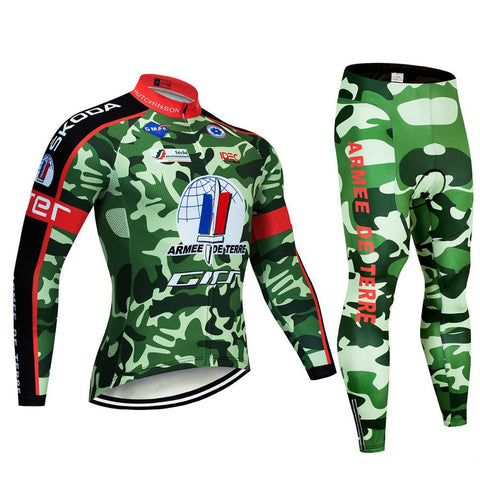 2020 Camouflage Green Men's Team Cycling Long Sleeve Jersey Set