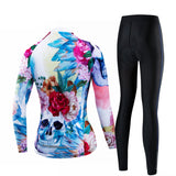 Colorful Skull Women's Long Sleeve Cycling Jersey Set