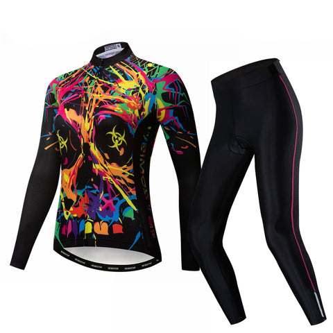 Fire Skull Women's Long Sleeve Cycling Jersey Set