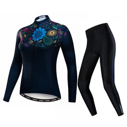 Black Flowers Women's Long Sleeve Cycling Jersey Set