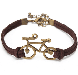 Brown Leather Bicycle Bracelet