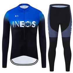 INOS Blue 2020 Team Cycling Long Sleeve Jersey Set