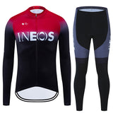 INOS Red 2020 Team Cycling Long Sleeve Jersey Set