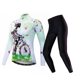 Cycling Girl Green Women's Long Sleeve Cycling Jersey Set