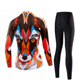 Tiger Brown Women's Long Sleeve Cycling Jersey Set
