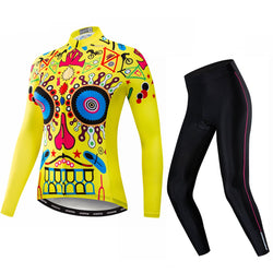 Yellow Skull Women's Long Sleeve Cycling Jersey Set