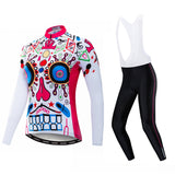 Pink Skull Women's Long Sleeve Cycling Jersey Set