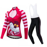 Pink Cat Women's Long Sleeve Cycling Jersey Set
