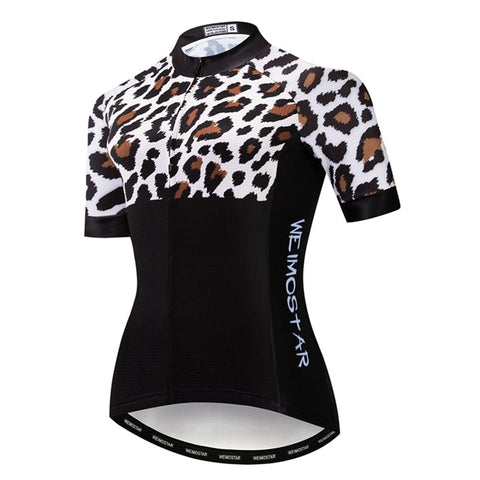 Leopard Black Cycling Jersey
