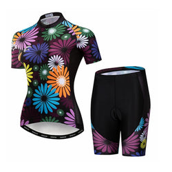 Colorful Flowers Cycling Kit + Free Cycling Cap