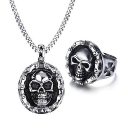 Bike Chain Skull Necklace+Ring