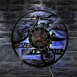 Never Give Up Cyclist Wall Clock