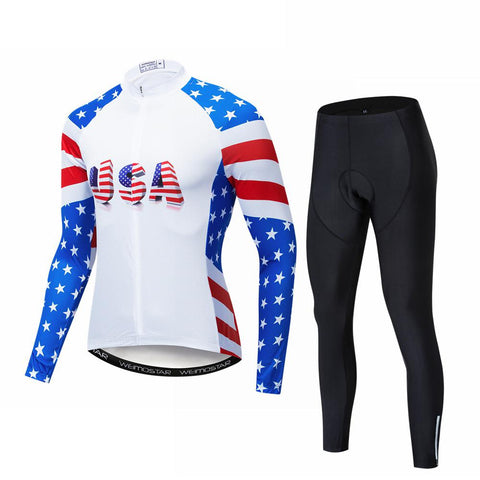 USA Men's Long Sleeve Cycling Jersey Set