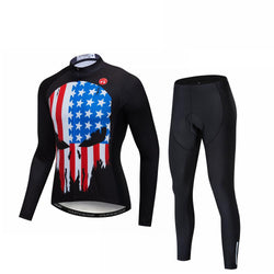USA Skull Men's Long Sleeve Cycling Jersey Set